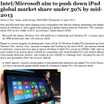 Intel-Microsoft aim to push down iPad global market share